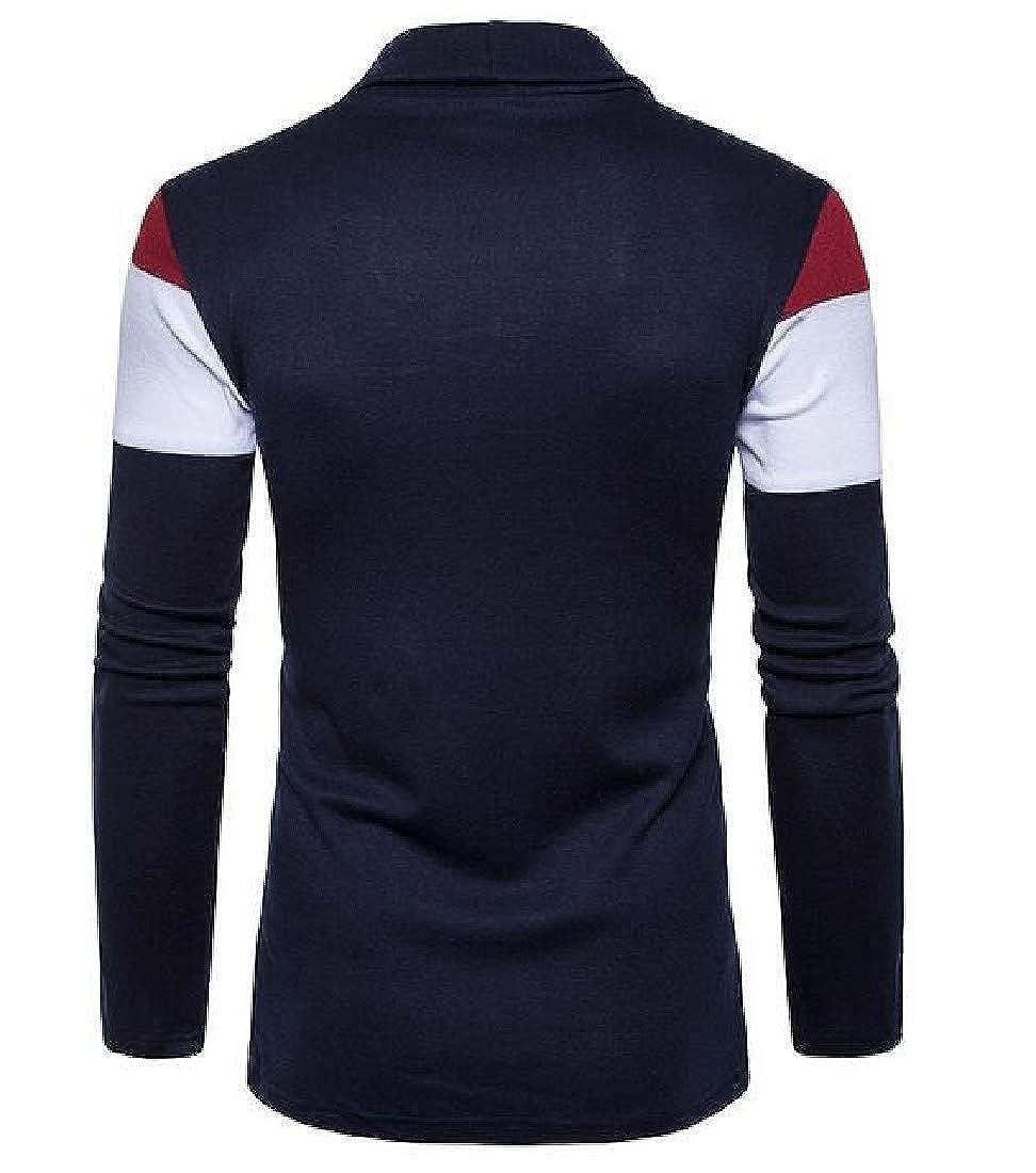 Zimaes-Men Long Sleeved Open Front Color Block Knit Cardigan Top