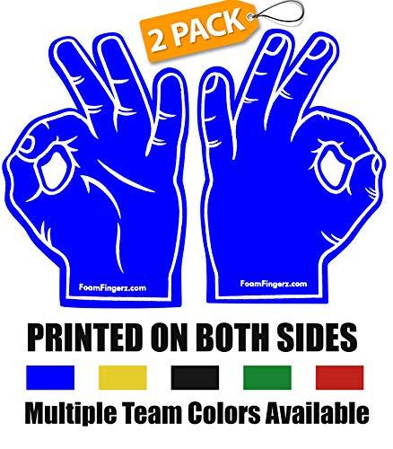 Foam Hand Fingers for Sports - Okay Emoji Foam Finger - 2 Pack -