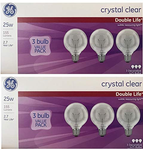 25-Watt Incandescent G25 Globe Double Life Clear Light Bulb (6 Pack)