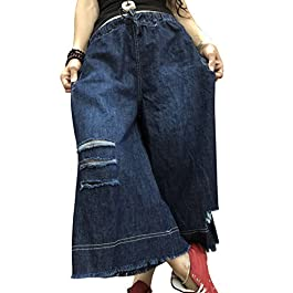 YESNO PD4 Women Denim Cropped Pants Casual Loose Jeans Low Crotch Elastic Waist
