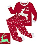 Dolphin&Fish Girls Pajamas Reindeer Glow-in-The-Dark Kids Pjs 100% Cotton Toddler Clothes Shirts Size 10T