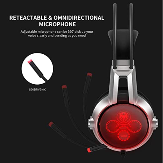 Volume Control YYZLG Head-Mounted Gaming Headset with Vibration Function 5.2 Illuminated Headset with Microphone Black LED