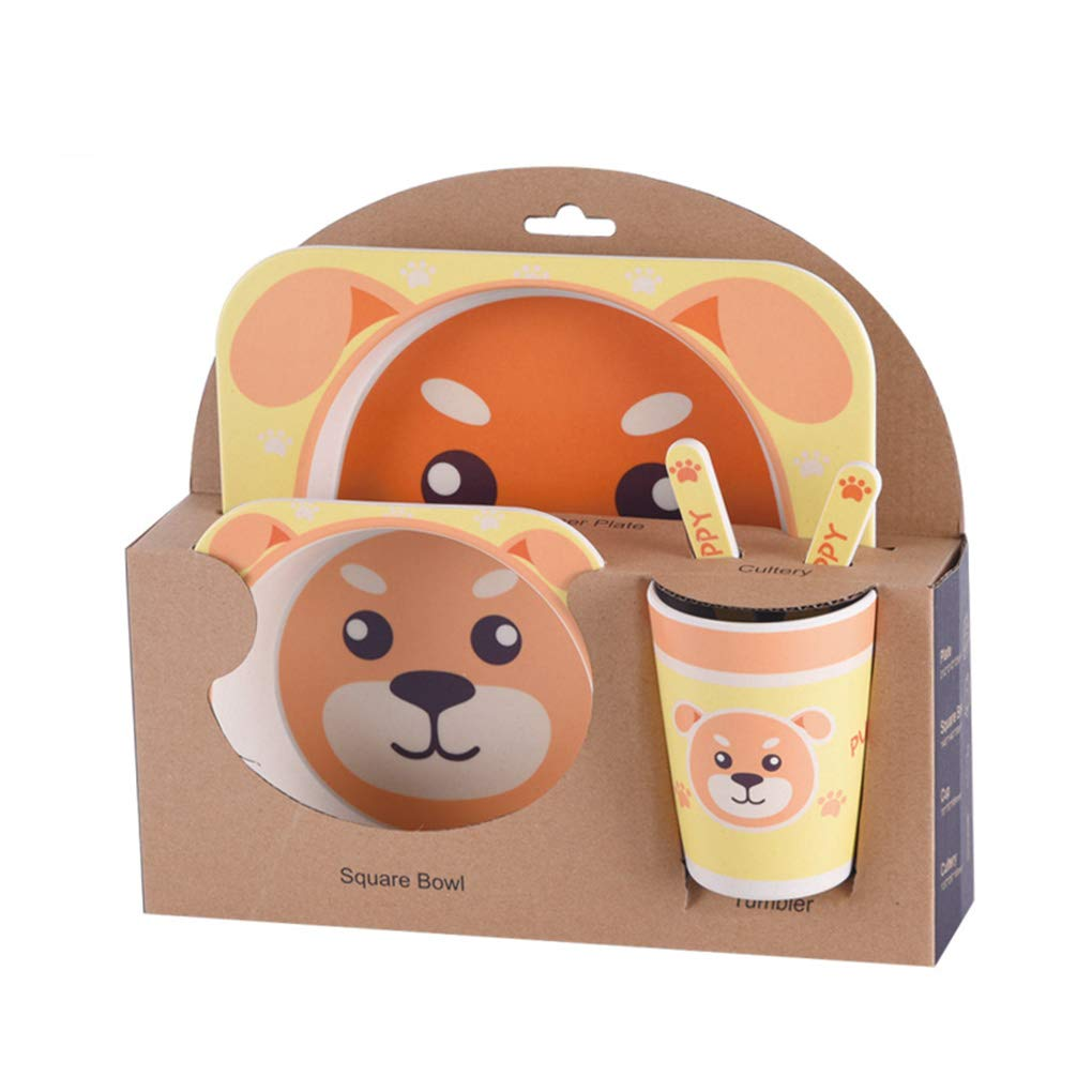 Chilie Kids Tableware Set 5Pcs Baby Bamboo Fiber Cartoon Bowl Animal Dinnerware Set Toddler Cup Spoon Fork