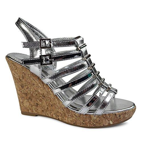 Damen Sandalen Keilabsatz Wedge Sandaletten High Heels Nieten Glanz ST990 Silber