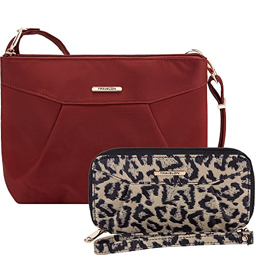 Travelon Anti-Theft Crossbody and RFID Clutch Wallet Set- Exclusive