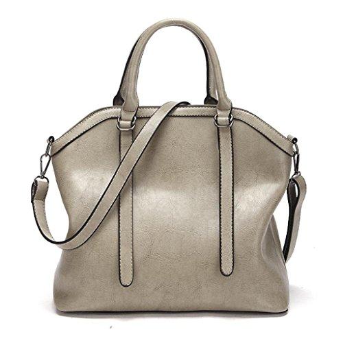 grande épaule Blanc main à cuir bandoulière Vintage Satchel sac sac tout et mode en à capacité femmes sac élégant mode nouveau Sacs fourre BZLine OZWgAA
