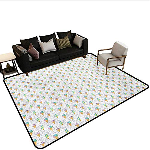 Household Decorative Floor mat,Summer Ice Dessert Collection with Waffle Cones and Sundae Dairy Refreshment 6'6''x8',Can be Used for Floor Decoration by BarronTextile (Image #6)