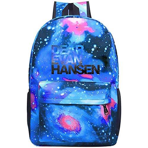 MUhaps Star Sky School Backpack Dear Ev-an Han-sen Unisex Galaxy Bookbags for Kids Teens Students Daypack Blue