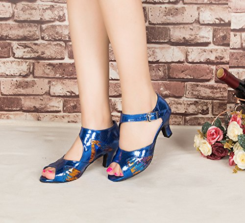 Multicoloured Blue Womens Party Snakeskin Wedding Peep Dance Tango Sequin Sandals Leather Morden Ballroom Toe Stylish Professional PU CRC xIqTAq