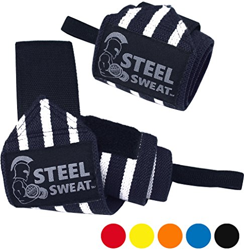 Wrist Wraps by Steel Sweat - Best for Weight Lifting, Powerlifting, Gym and CrossFit Training - Heavy Duty Support in Sizes 14