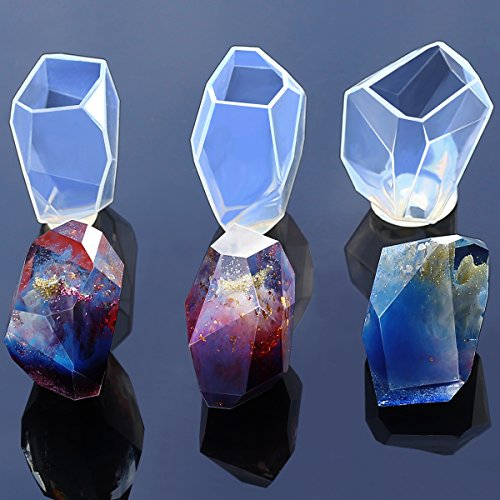 3 Shapes DIY Liquid Resin Diamond Jewelry Mould, The Multi-faceted Silicone Mold for Making Crafting, Resin (Epoxy Mold)
