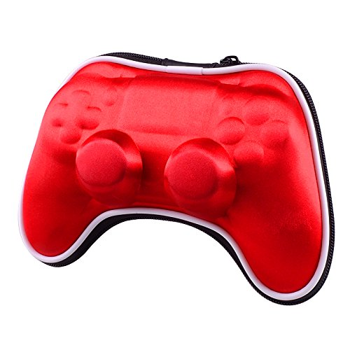 eXtremeRate Red Shockproof Controller Airform Carry Pouch Bag Protective Case for Playstation 4 PS4 Slim PS4 Pro with Strap ()