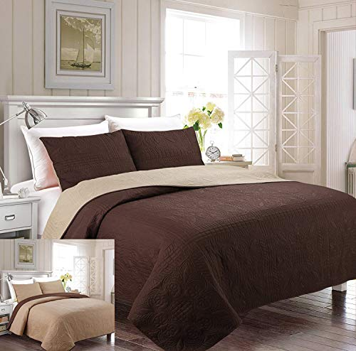 Fancy Collection 2pc Luxury Bedspread Coverlet Embossed Bed Cover Solid Reversible Coffee /Taupe Over Size New Twin/Twin Extra Large 68\