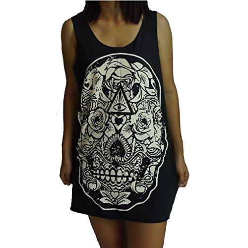 Skull Tank Dress - Unisex Skull Skeleton Bones Goth Vest Tank-Top Singlet Dress Sleeveless T-Shirt XL Black