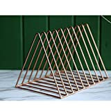 Triangle Metal magazine rack Holder File organizer Magazine racks for bathroom Living room Study Decorative storage-Rose gold 26x18x18cm(10x7x7inch)