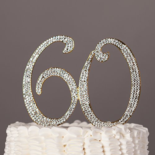 60 Cake Topper for 60th Birthday or Anniversary Gold Party Supplies & Decoration Ideas (Anniversary Centerpieces Ideas)