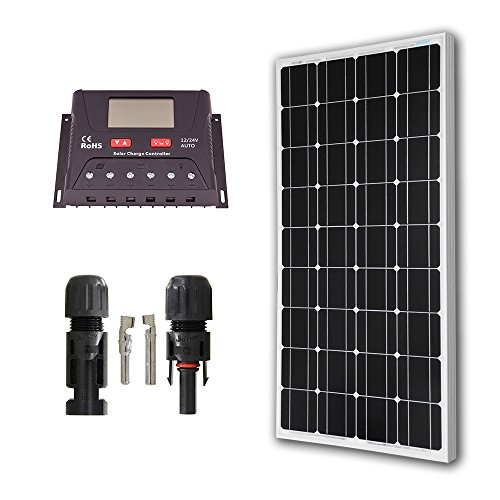 HQST Solar Panel Basic Home Kit 100Watt 100W Mono 30A controller 12V RV Boat Off Grid (Solar Panel Kits For Homes)