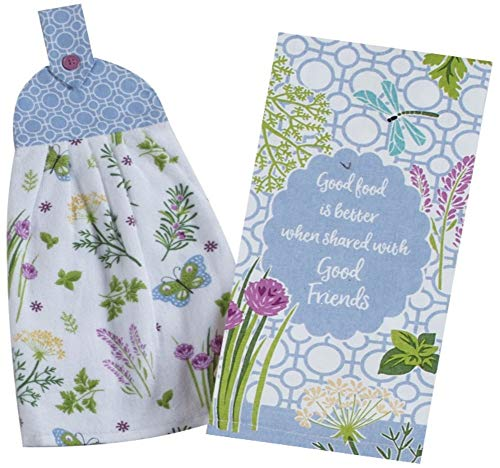 (2 Butterfly and Herb Garden Themed Decorative Cotton Kitchen Towels Set | 1 Hanging Loop Button Tie Towel and 1 Tea Towel for Dish and Hand Drying | by Kay Dee Designs)