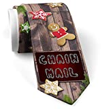 His Christmas NeckTie Chain Mail Silver Chain Lettering cookie wood print