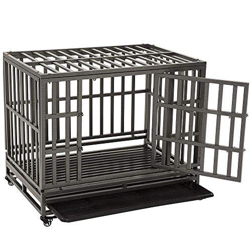 KELIXU Heavy Duty Dog Crate Large Dog cage Dog Kennels and Crates for Large Dogs Indoor Outdoor,Upgrated