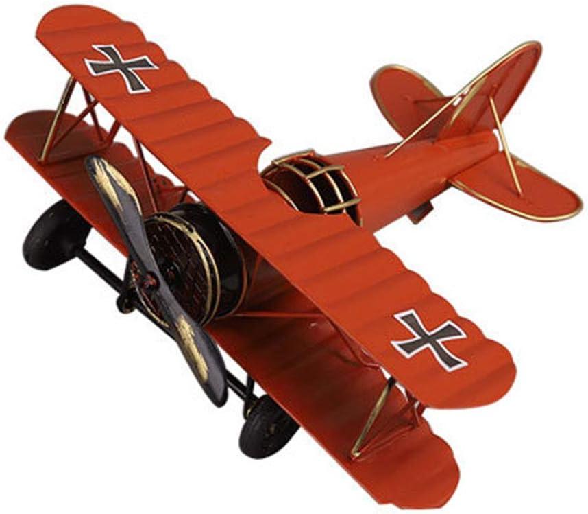 M Joy Vintage Airplane Model-Metal Aircraft Biplane Home Decor Ornametal Handicraft Kids Toy Model,Christmas,Souvenir,Ornament,Desktop Decoration (Red)