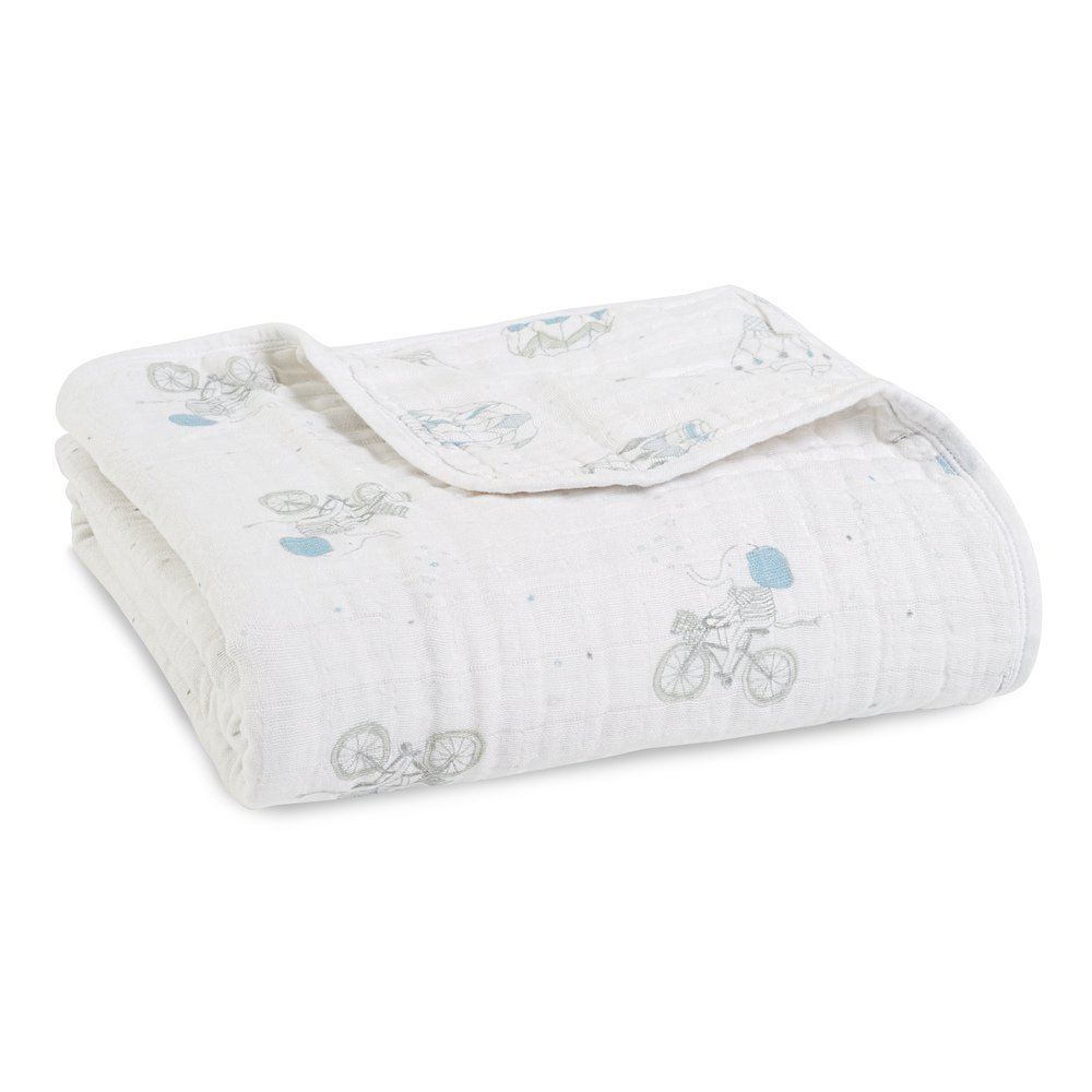 Aden + Anais Dream Blanket, 100% Cotton Muslin, 4 Layer Lightweight and Breathable, Large 47 X 47 inch, Night Sky Reverie - Elephant/Hot air Balloon