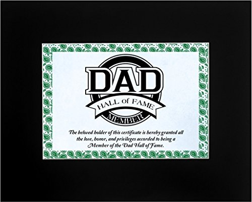 [Father's Day Gift for Dad, Dad Hall of Fame Member Award Certificate 8x10 Single Matted Gift for Dad or Grandpa Midnight Black] (Funny Award Ideas)