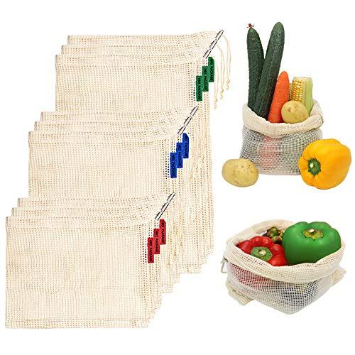 - HRX Package Reusable Cotton Mesh Produce Bags Drawstring, Set of 9 Veggie Shopping Bags Net for Grocery Fruit Vegetable (Large Medium Small)