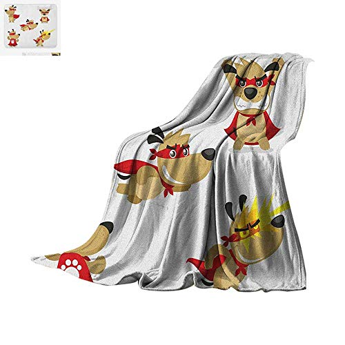 Dog Warm Microfiber All Season Blanket Superhero Puppy with Paw Costume and Mystic Powers Laser Vision Supreme Talents Summer Quilt Comforter 80