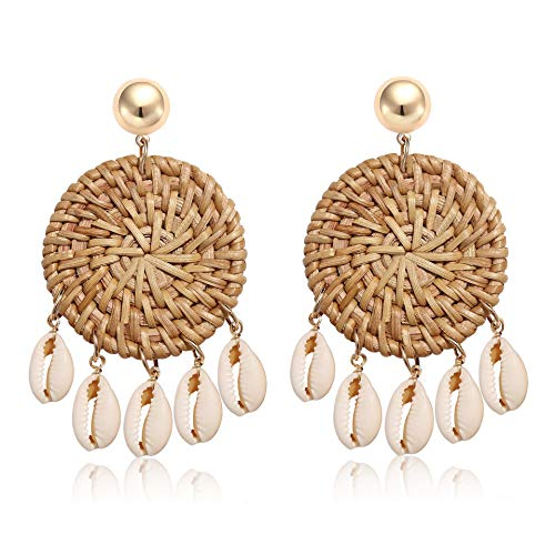(CEALXHENY Shell Rattan Earrings Boho Chandelier Seashell Bead Drop Earrings Handmade Straw Wicker Braid Hoop Dangle Earrings for Women Girls (C Round Disc))