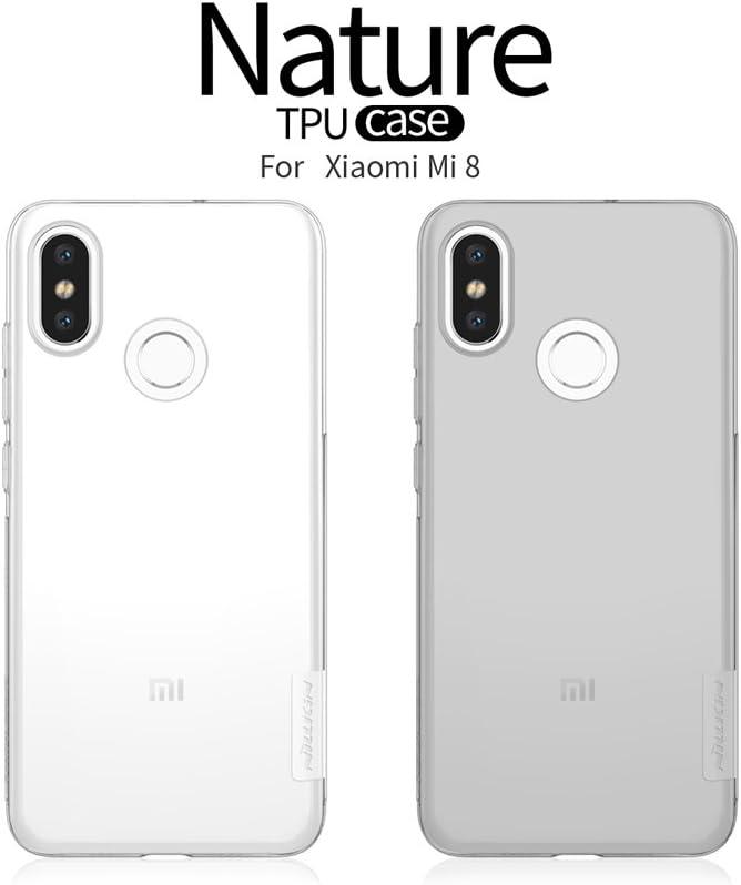 Nillkin Xiaomi Mi8 Funda, Nature Silicona [Antideslizante] Bumper de Gel TPU Xiaomi Mi 8 [Ultra Fina] Clear View - Transparente
