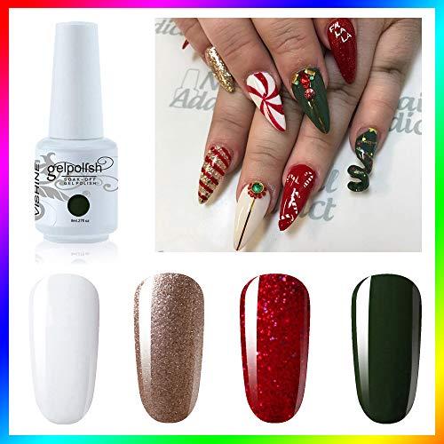 Vishine Soak Off UV LED Christmas Collection Glitter Sparkle Red GoldGolden Gel Nail Polish Color Set Of 4pcs X 8ml Nail Art Kit Set