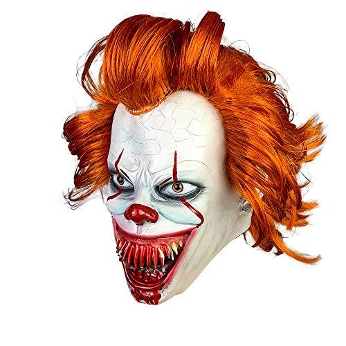 Evil Joker Mask (Haho Pennywise Mask IT Clown Mask Horror Clown Joker Evil Teeth IT Chapter 2 Stephen Mask Scary Halloween Cosplay)