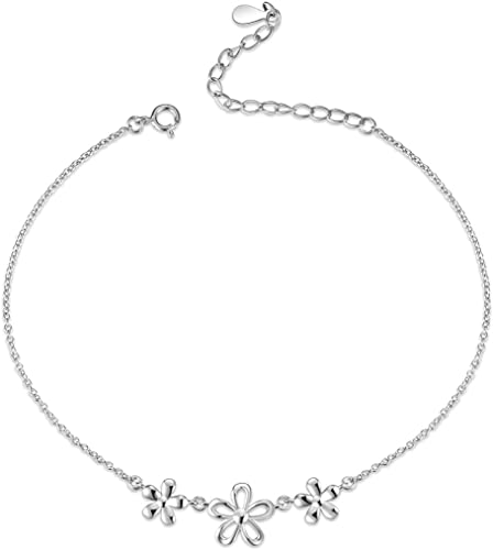 Solid Sterling Silver Daisy Flower Anklet .925 Plated with Rhodium Brand New