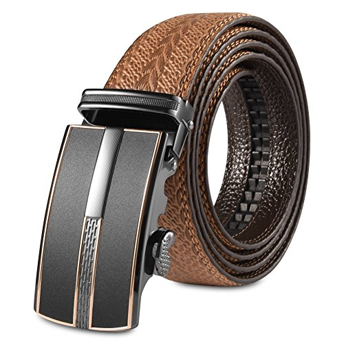 Vbiger Fashionable Embossed Genuine Leather Belt with Automatic Buckle (one size, Golden Strap)