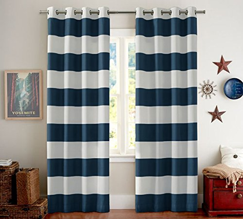 "Striped Pattern Thermal Insulated Blackout Curtains (2 PANELS) Grommet Window Curtain Panel Pair for Living Room, Navy / White, 52"" Width by 84"" Length"