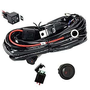 Wiring Harness,Eyourlife Heavy Duty Wiring Harness Kit for Led Light bar 300W 12V 40A Fuse Relay On/Off Switch Relay 14AWG 12FT Length Universal Fitment Light Bar Accessories