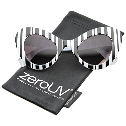 zeroUV - Women's Oversize Bold Chunky Frame Exaggerated Cat Eye Sunglasses 55mm (Black-White Stripes / (Black And White Glasses)