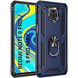 AE Mobile Accessories Ring Kickstand Phone Case for Redmi Note 9 Pro / Redmi Note 9 Pro Max, [Military Grade] Heavy Duty Dual Layer Drop Protection Hard Shell + Soft TPU + Ring Stand Fits Magnetic Car Mount (BLUE)