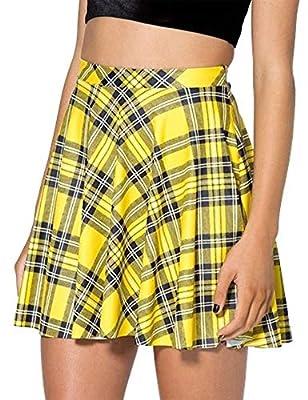 IDEALSANXUN Women's Plaid Short Skirt Mini Pleated Skirt