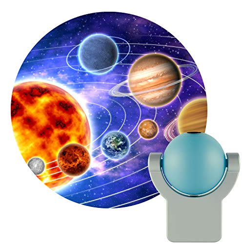 (Projectables 11282 LED Plug-In Night Light, Blue and Silver, Light Sensing, Auto On/Off, Projects the Solar System Featuring Mercury, Venus, Earth, Mars, Saturn and Neptune on Ceiling, Wall, or Floor)