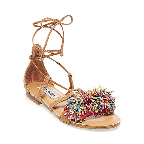 Boho-Chic Vacation & Fall Looks - Standard & Plus Size Styless - Steve Madden Women's Swizzle Flat Sandal, Natural Multi, 7 M US