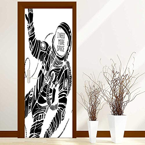 L-QN Door Stickers Arts Decals Wall Stickers Decor Decor Motivation Calligraphy with Astronaut in The Costume Gravity Artwork Black White Easy-to-Clean, Durable W30 x H80 inch
