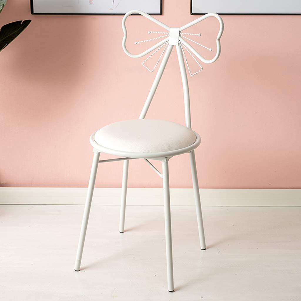 XIAOZHUZHU toalettbord sminkpall vit makeupstol PU läder/flanell fjäril slips fåtölj kreativ järnkonst matstol dekoration möbler, vit PU Vit Pu