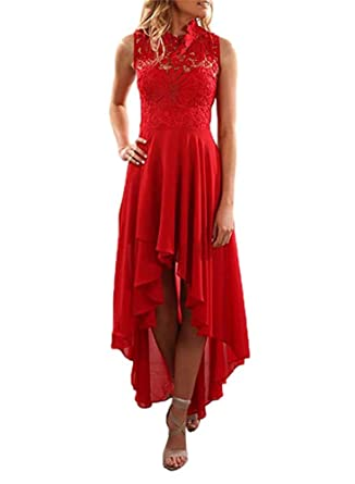 BeneGreat Womens Elegant Floral Lace Bodice Hallow Out Flared High-low Midi Cocktail Party Prom Dress at Amazon Womens Clothing store: