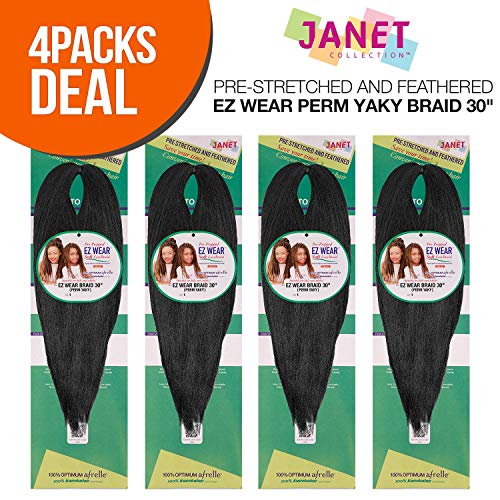 Yaky Braid - MULTI PACK DEALS! Janet Collection Synthetic Hair Braids Pre-Stretched and Feathered EZ Wear Perm Yaky Braid 30