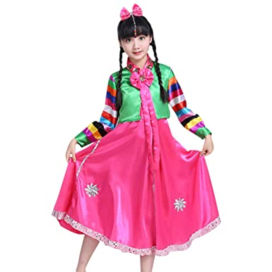 e60a234ef1 Amazon.com: DAZISEN Korean Classic Costume Dress - Girls Pretty ...
