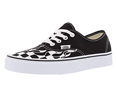 b3ddc37eb0c8e Vans Unisex Adults Authentic Checkerboard Flame Black & White Skate Shoes  (10 M US Women 8.5 M US Men, (Checker Flame) Black/True White)
