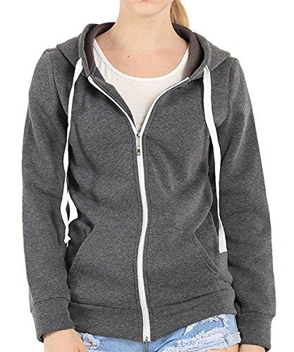 AJ FASHION - Sudadera con capucha - Básico - Manga Larga - para mujer gris oscuro
