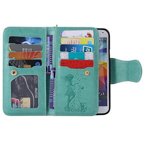 Ukayfe Flip funda de cuero PU para Samsung Galaxy S5, Leather Wallet Case Cover Skin Shell Carcasa Funda para Samsung Galaxy S5 con Pintado Patrón Diseño, Cubierta de la caja Funda protectora de cuero Mujer y gato-Verde